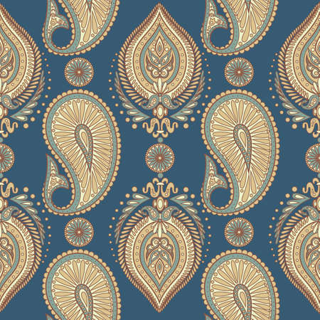tile able: Paisley seamless pattern with Indian ornament. Vector background Illustration