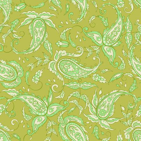 Paisley Pattern. Seamless Asian Textile Background Illustration