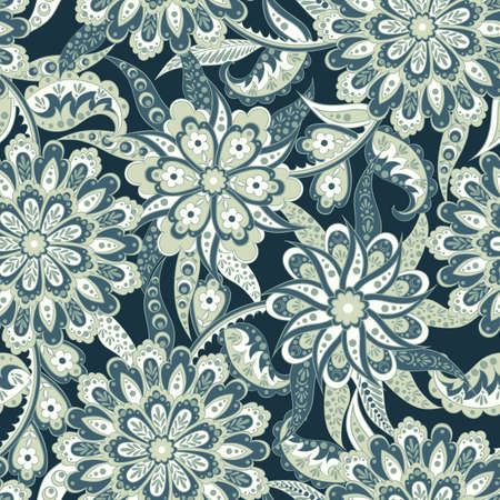 ethnic flowers seamless vector pattern Illustration