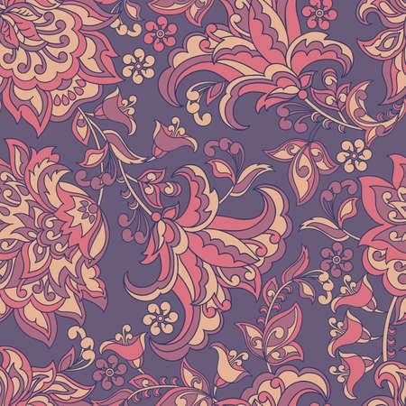 vintage pattern in indian batik style. floral vector background Illustration