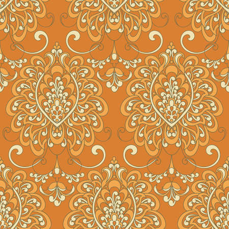 Vector textured print. Damask Seamless vintage pattern. Can be used for wallpaper, fabric, invitation Illustration