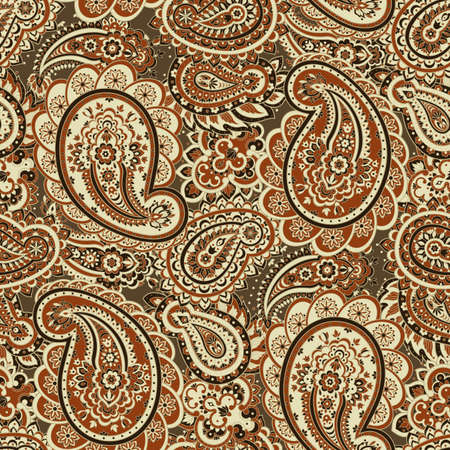paisley seamless pattern. asian style vector background Vettoriali
