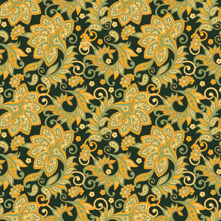 Folkloric Batik flowers vector ornament. Ethnic Floral seamless pattern.
