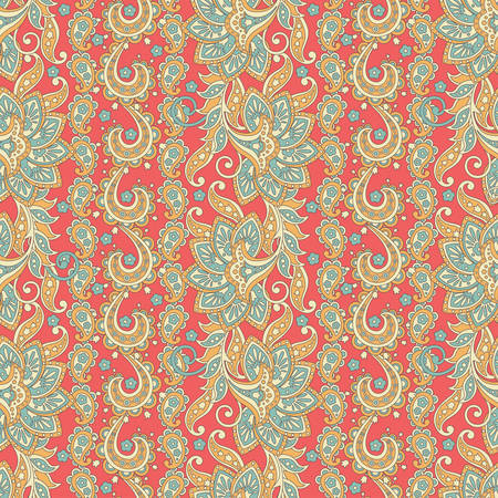 Paisley floral ethnic seamless pattern. Ornamental motifs of the Indian fabric patterns.