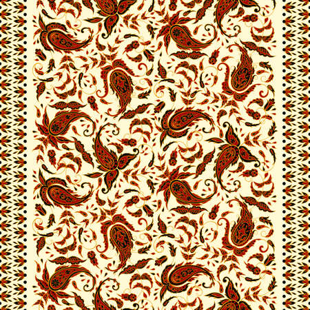 Paisley textile pattern in Asian batik style.