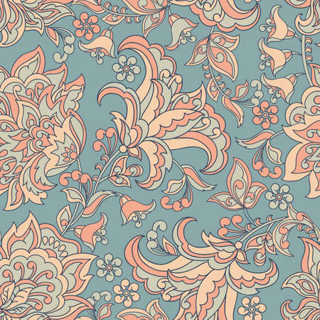 vintage pattern in indian batik style. floral vector background Çizim