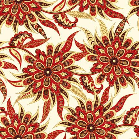 Floral seamless pattern. Folkloric Batik vector ornament.