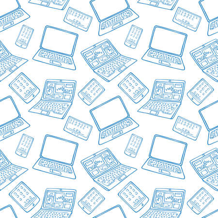 vector seamless pattern of hand drawn doodles of electronic gadgets. Laptop, PC, Phone, Tablet Illustration