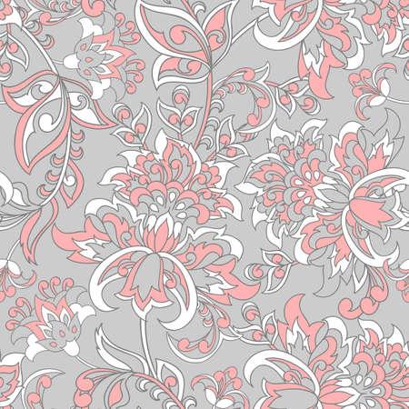Floral Seamless Damask background. Vector illustration.