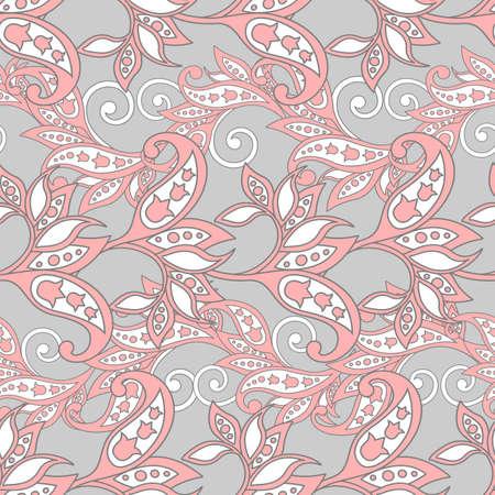 Floral wallpaper damask seamless vector background Illustration