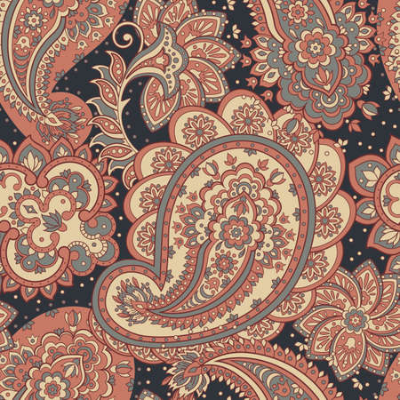 Paisley ornament floral seamless pattern. Asian vector background Illustration