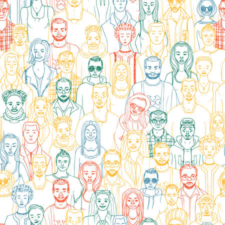 Seamless pattern of hand drawn people faces. Vector illustration of crowd of people