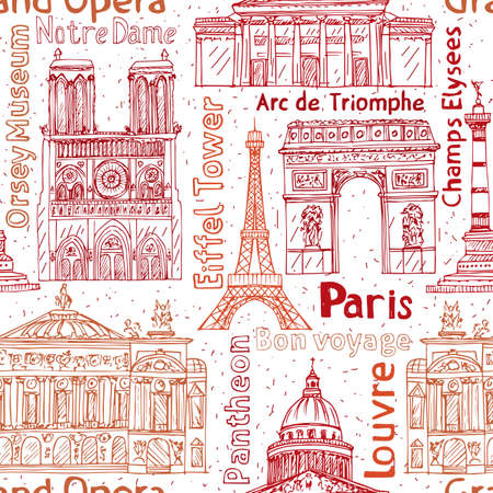 Paris landmarks hand drawn illustration.