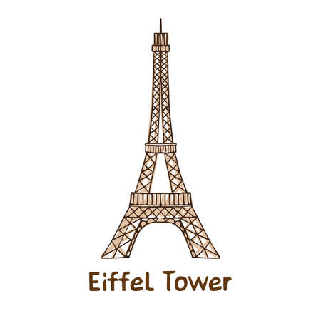 Hand drawn  Eiffel Tower.