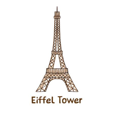 Hand getekend Eiffeltoren. Stock Illustratie