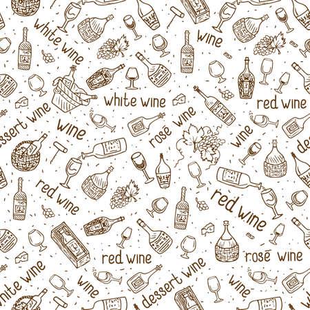 Wine bottle pattern. 向量圖像