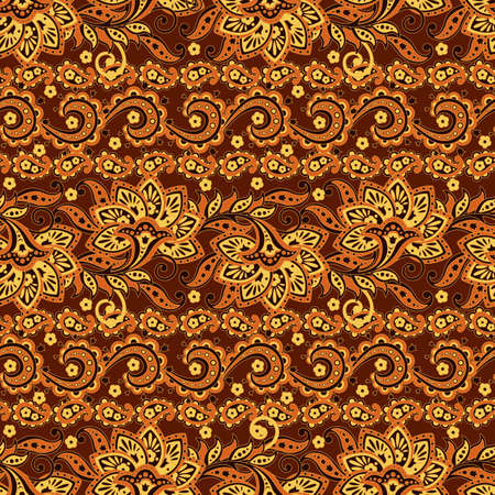 Paisley floral ethnic pattern. Illustration