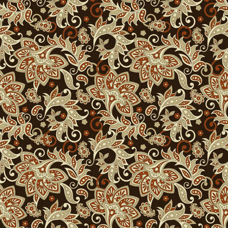 Folkloric batik flowers pattern. Illustration