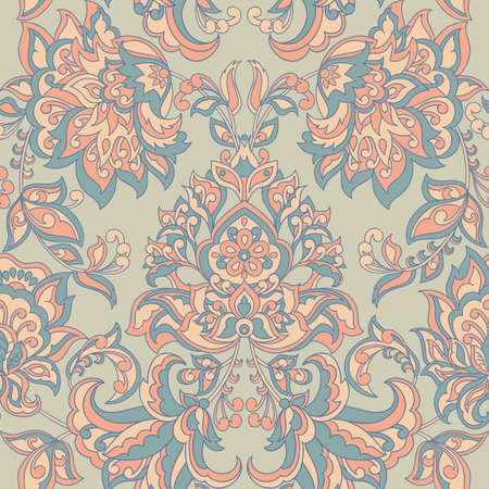 Baroque style floral wallpaper. Seamless vector pattern Illustration