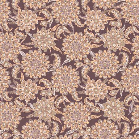 バティック風のシームレス花柄ベクトルの背景