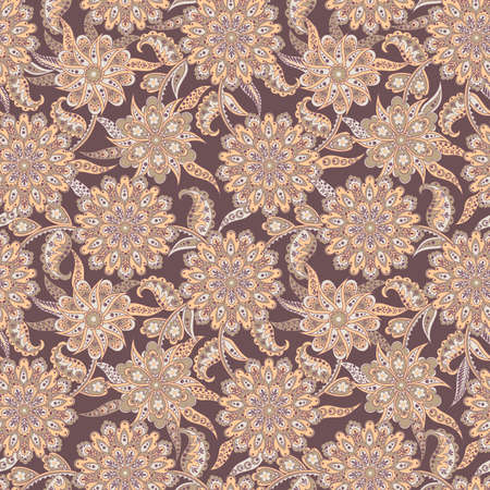 floral seamless pattern in batik style. vector background Çizim