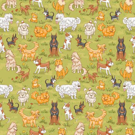 Nettes Hundemuster Nahtlose Vektor-Illustration mit Bulldogge, Bobtail, Dackel, Bullterrier, Dobermann, Spitz, Chihuahua Standard-Bild - 85034187