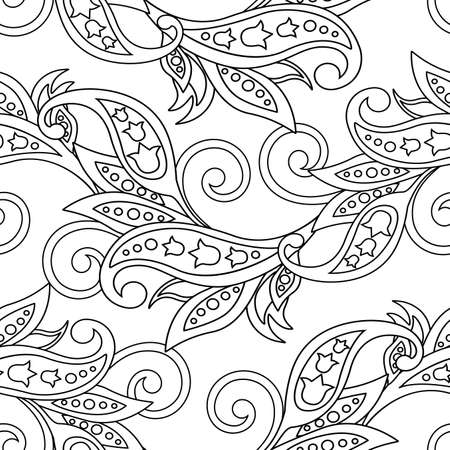 Seamless pattern with ethnic flowers. Vector Floral Illustration  Illustration