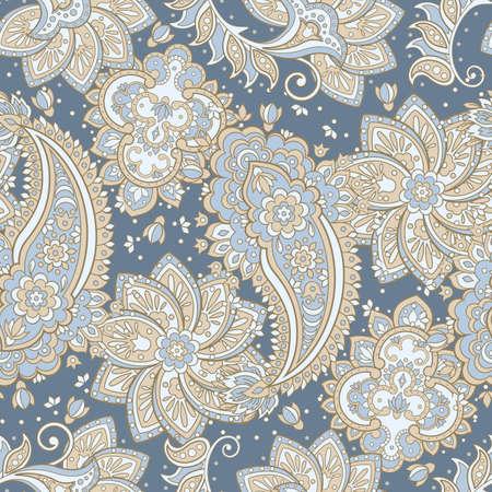vintage paisley pattern in indian batik style. floral vector background Illustration