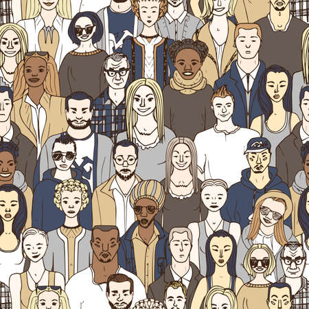 crowd of people. seamless vector pattern of hand drawn people Illustration