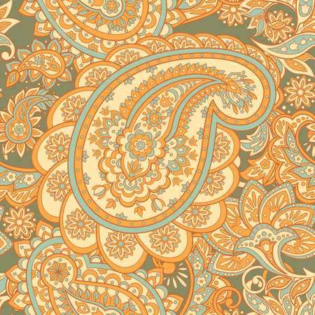 Floral pattern with paisley ornament. Vector illustration in Asian textile style