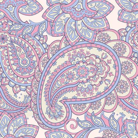 ペイズリー柄。紫の花のアジアン スタイル
