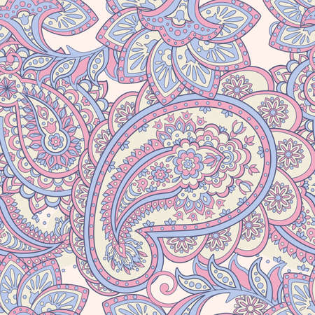 Paisley pattern. Asian style floral  in purple