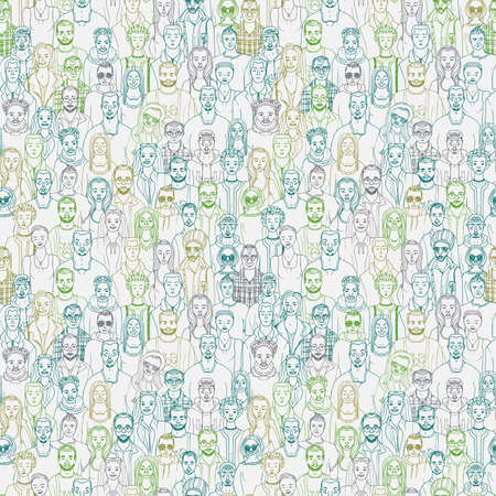 guy standing: Pattern of hand drawn people faces