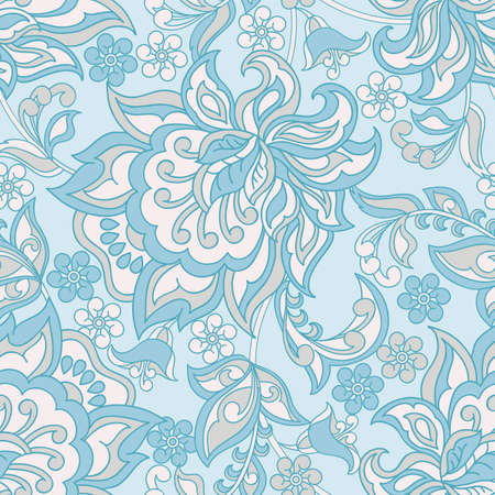 Vintage floral seamless pattern in blue