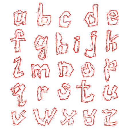 Hand drawn letters of shaky alphabet