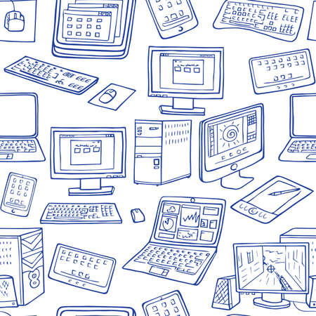 electronic components: A vector seamless pattern of hand drawn doodles of electronic gadgets. Computer, laptop, monitor