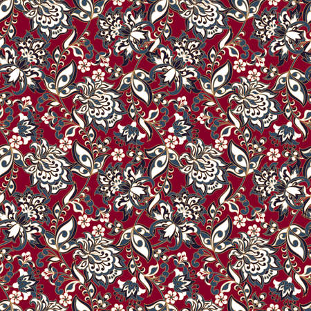 Vintage flowers repetitive pattern, Ethnic floral design