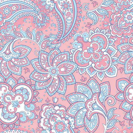 Seamless paisley pattern. Floral vector background