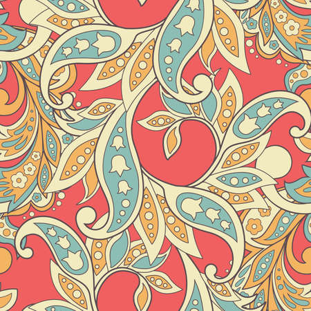 patchwork: Elegance seamless pattern with ethnic flowers. Vector Floral Illustration in asian textile style