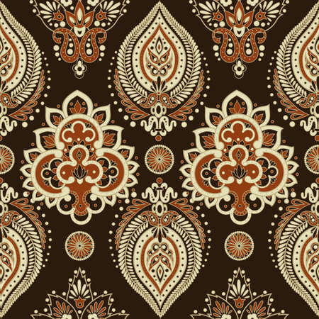 indian teenager: Damask pattern with flowers in Indian style Illustration