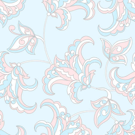 Elegance seamless pattern with ethnic flowers. Vector Floral Illustration 向量圖像