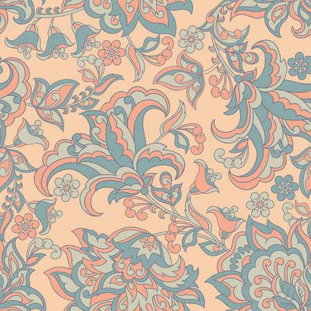 A vintage pattern in Indian batik style. floral vector background