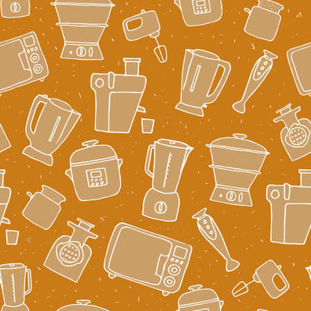 Kitchen appliances seamless pattern. vector illustration of hand-drawn electric devices