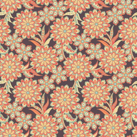 Ethnic flowers seamless vector pattern Illustration