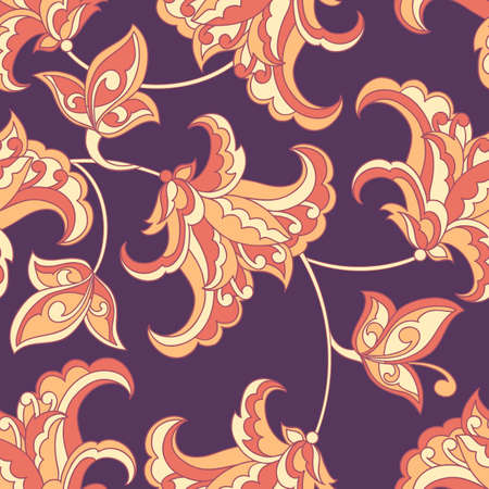 Elegance seamless pattern with ethnic flowers. Vector Floral Illustration Illustration