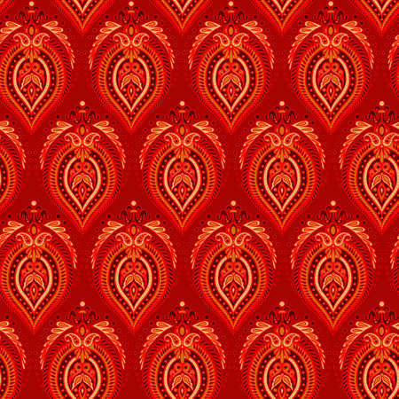 indian teenager: Floral oriental ethnic background. seamless vector pattern