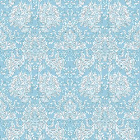 Damask style vintage floral seamless pattern Illustration