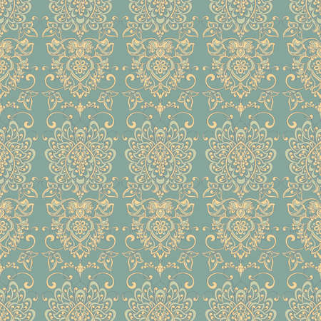 Seamless Damask wallpaper. colorful vector background Illustration