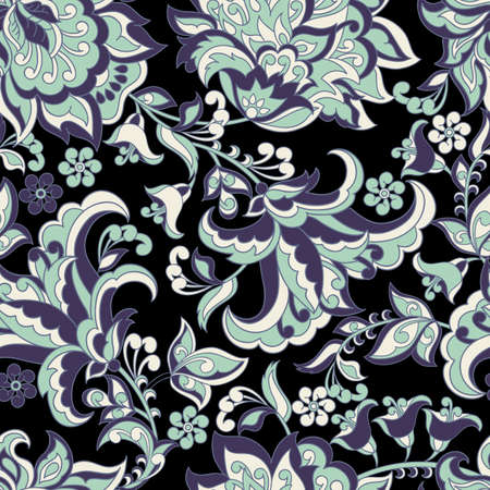 vintage pattern in indian batik style. floral vector background 向量圖像