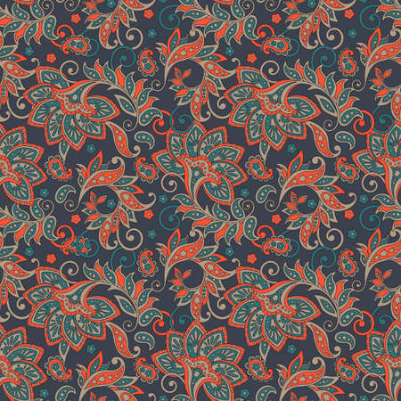 Folkloric Batik flowers vector ornament. Ethnic Floral seamless pattern.
